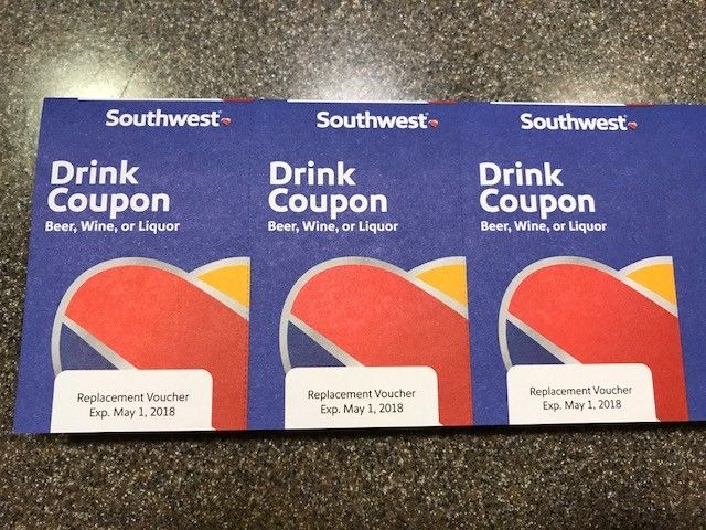 3 SOUTHWEST AIRLINES COUPONS VOUCHER DRINK  EXP 5/1/2018 FAST SHIPPING