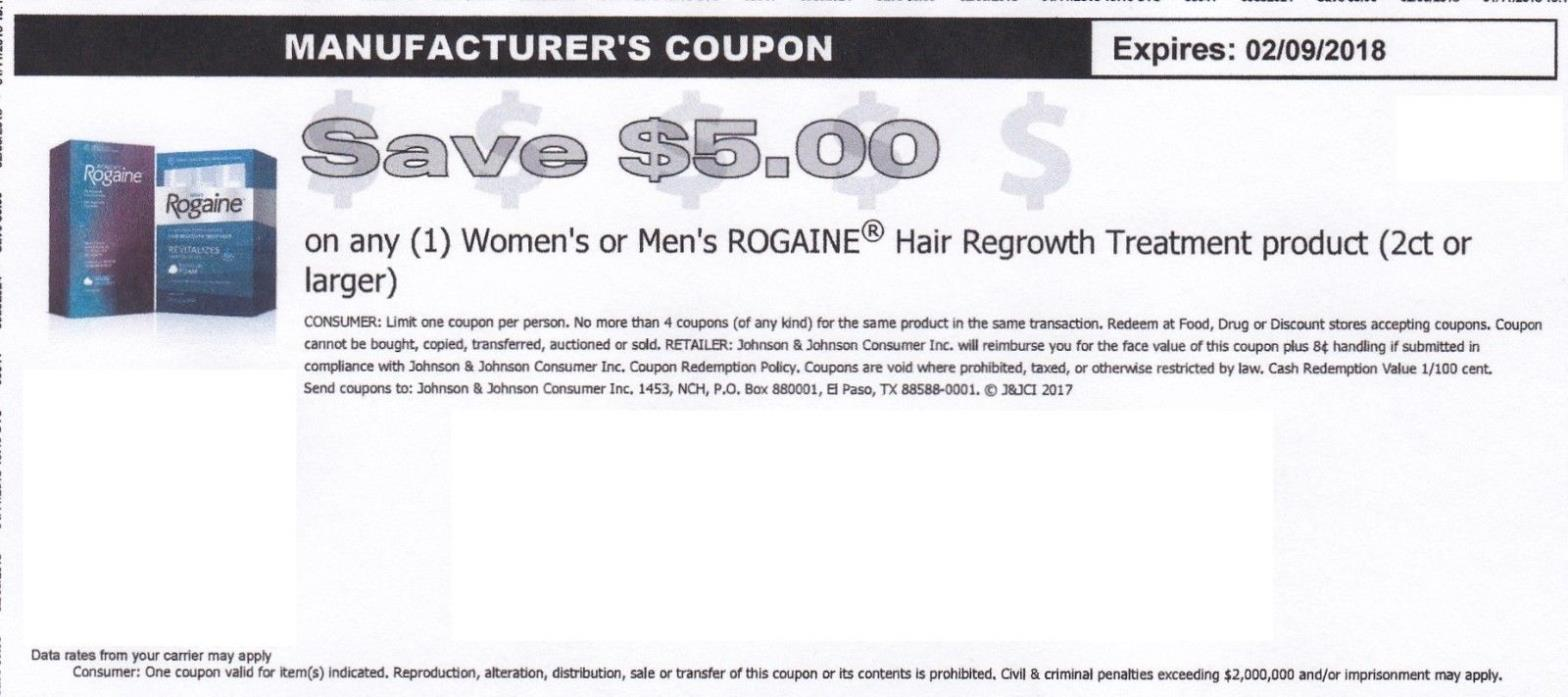 Coupon $5 Rogaine