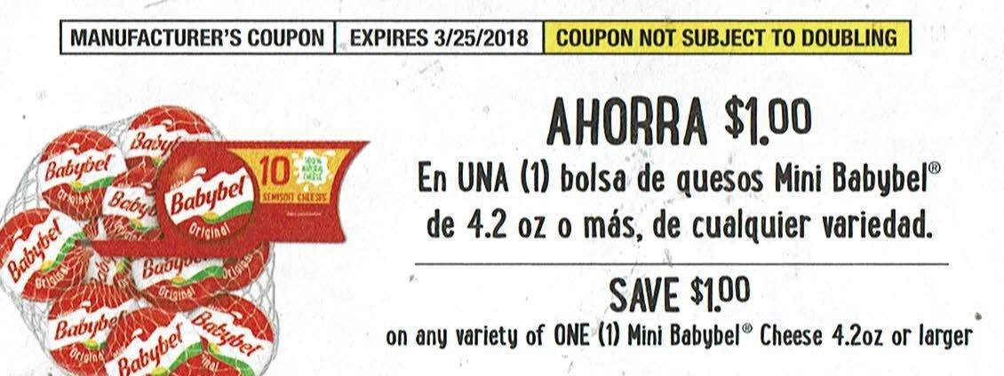 25 Coupons-$1 Off 1 Babybel Mini Cheese 4.2 oz or larger 03/25/18