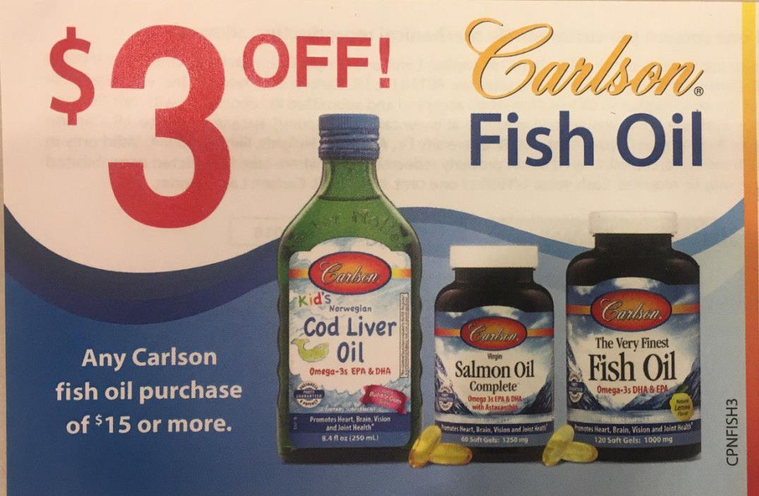 Five (5) $3 off $15 Purchase Coupons~Carlson~Any Fish Oil~Exp 12/31/18~ $15Value