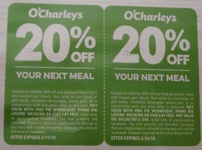 O'Charley's restaurant - 2 20% off coupons - exp. 2/11, 2/25