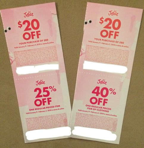 4 Justice Coupons - 2 $20 off $80, 1 40% Off, 1 25% Off 1 Item Store Online 2/5