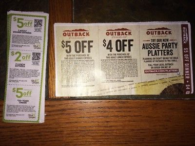 Olive Garden, Outback coupons (3) of each