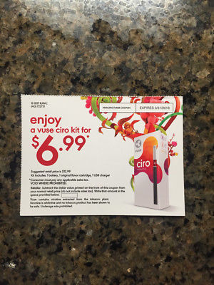 One coupon for a Vuse Ciro kit for $6.99- suggested retail price $12.99