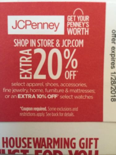 JCPenney 20% off Coupon In Store or Online EXP 1/28/2018 good for 24 hrs
