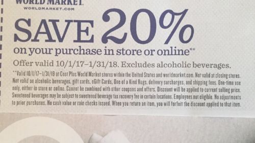 World Market 20% Off Entire Purchase Online Store Discount Coupon Movers