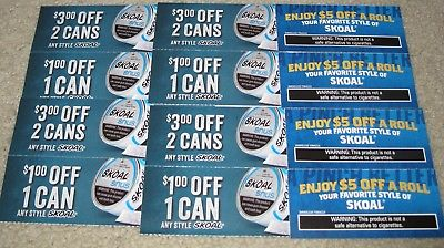 12 SKOAL SNUFF COUPONS VALUE $36.00 EXPIRES 1/29/18 & 3/31/18