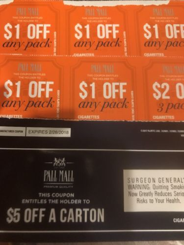 $12 off Pall Mall Cigarettes - Coupons expire 2/28