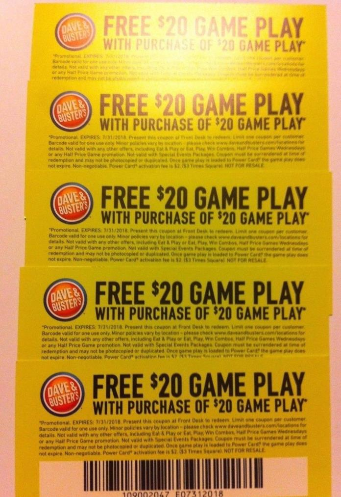 10 1/1 DAVE AND BUSTERS $20 OFF GAME PLAY COUPONS EXPIRES 7/31/18