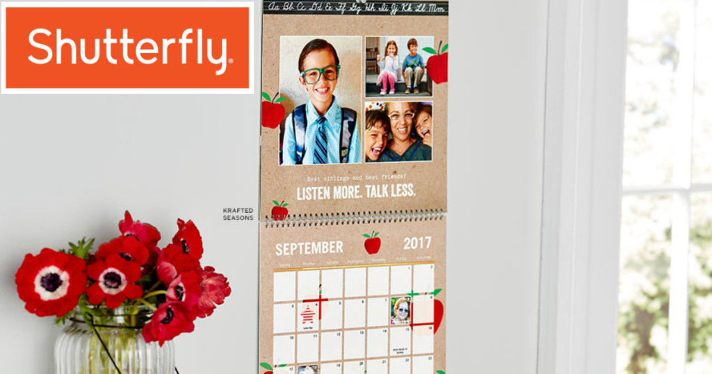 Shutterfly 8x11 Wall Calendar $24.99 Value Coupon Code Exp 1/31/18