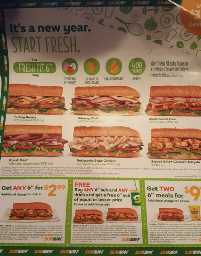 12 Subway Coupon - expiring 2/18/2018