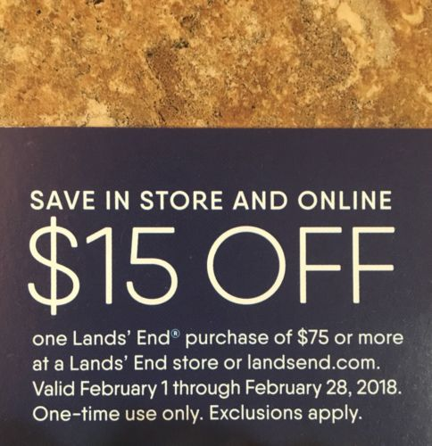 Land's End In-Store & Online Coupon - $15 Off $75 Purchase - Expires 2/28/2018