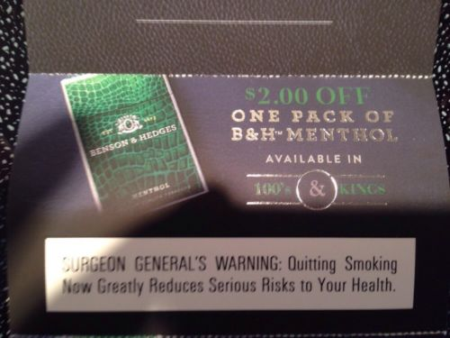 4 $2 off coupons Benson and Hedges B&H Menthol Cigarettes