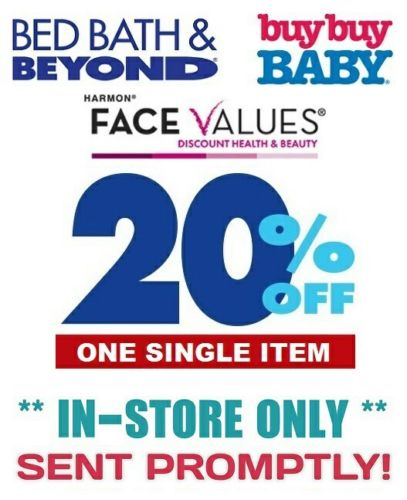 Bed Bath & Beyond 20% Off ONE SINGLE ITEM, Works on SALE and CLEARANCE!