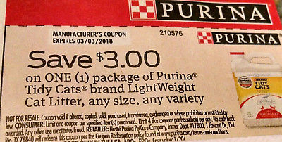 10 PURINA TIDY CATS LIGHTWEIGHT CAT LITTER $3 OFF 1 COUPONS  EXPIRES 3/3/18