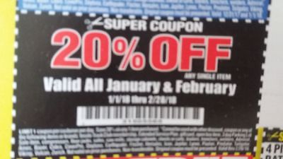 (1) Harbor Freight 20% Off!! ~ Use at Home Depot    1 Month