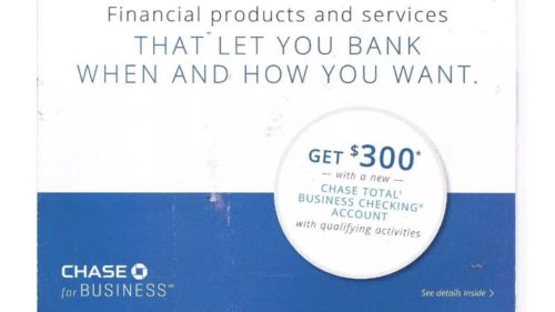 CHASE $300 bonus for new BUSINESS CHECKING Exp 2/22/2018