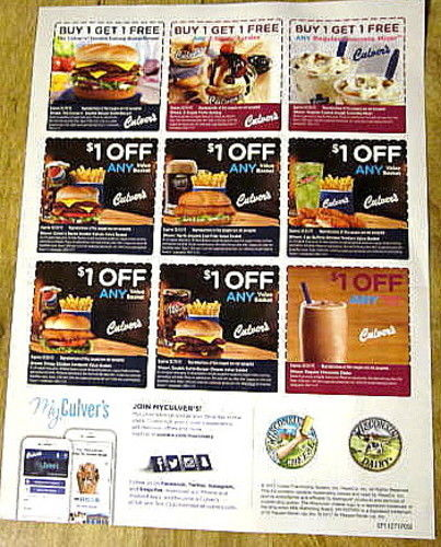5 SHEETS OF  CULVER'S COUPONS EXP 2/18/2018