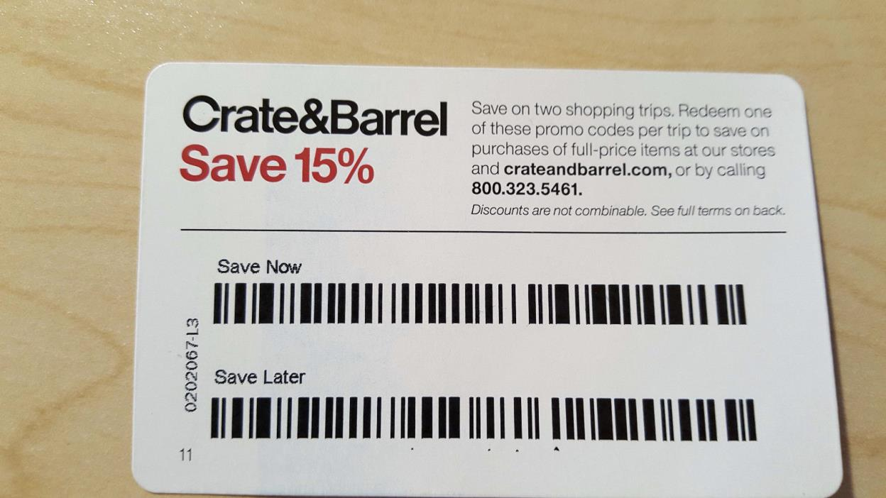 Crate & Barrel 15% off 2 coupons, exp. 04/30/2017