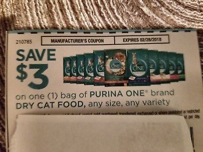 (3) $3 on one bag of Purina One dry cat food, any size