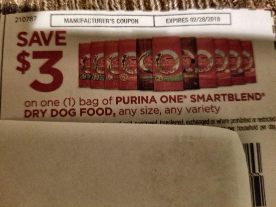 (4) $3 on one bag of Purina One Smartblend dry dog food, any size
