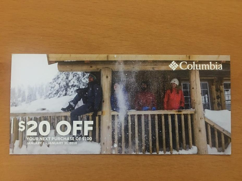 COLUMBIA.com or store use Coupon $20 off $100 -Exp 1/31/18