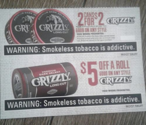 Grizzly Snuff get two cans for $2 exp 2/28/18