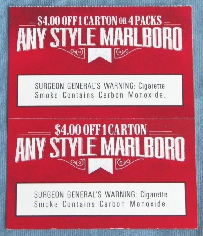 Marlboro Coupons - Value of Eight Dollars in Savings