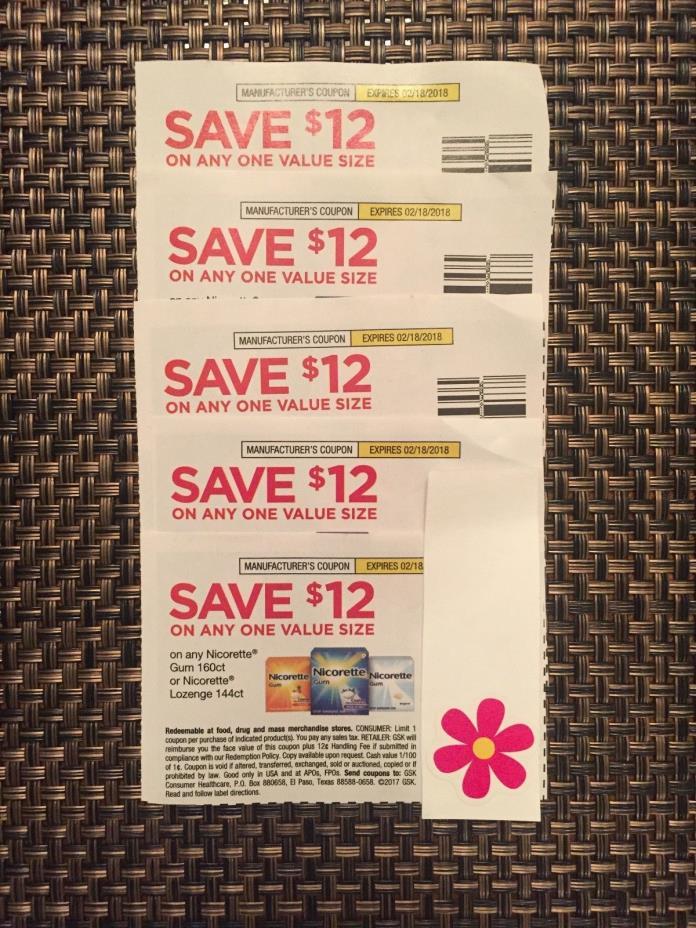 2-18-18 << $60 NICORETTE Coupons~Good on Value Size Gum & Lozenge