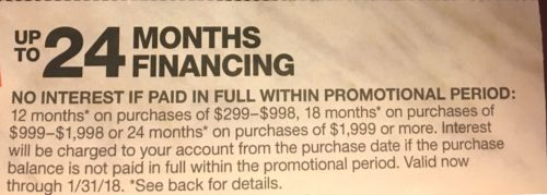 Home Depot Coupon no interest Financing Online w/HD Credit Card 01/31.Sent Fast!