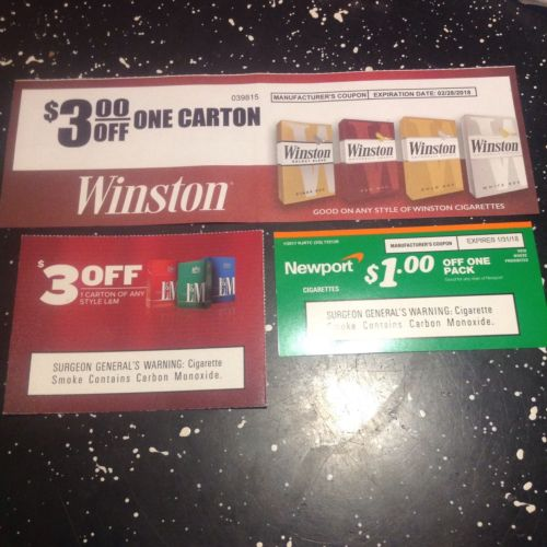 Cigarette Coupons - Winston - L & M - Newport-$7 Value
