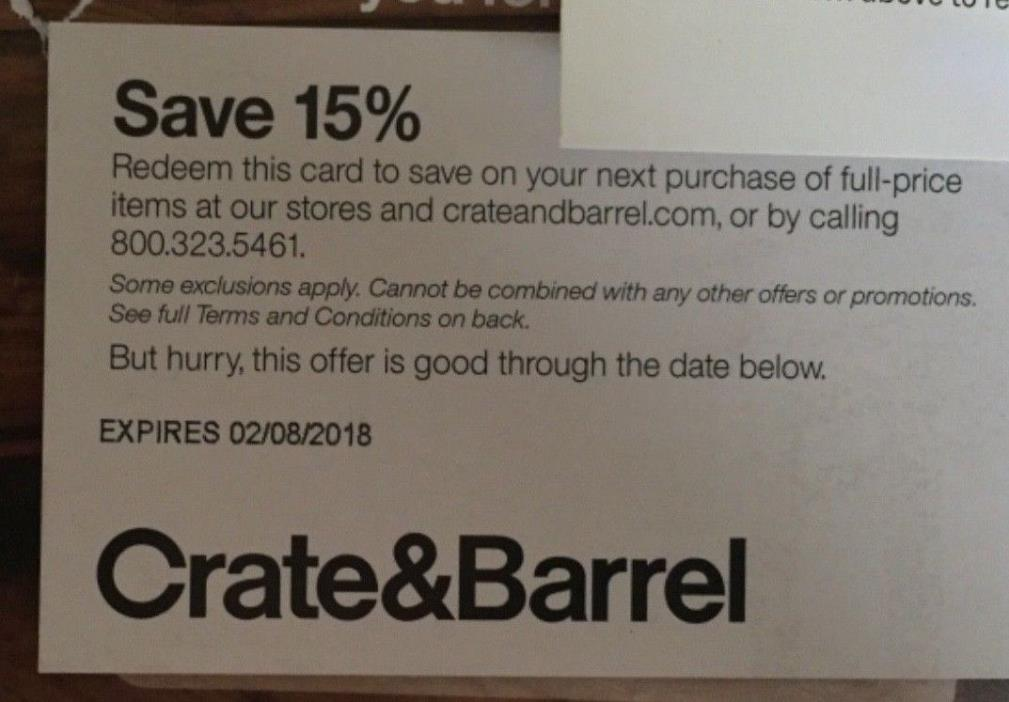 Crate&Barrel Save 15% expires 2/8/18