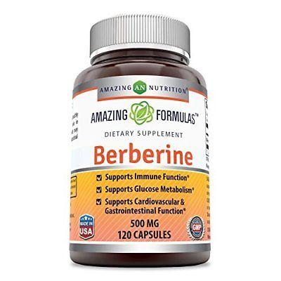 Amazing Formulas Berberine 500mg 120 capsules - Supports Immune Function, Glucos