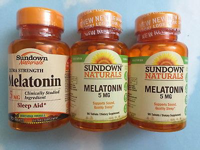 LOT(3) SUNDOWN NATURALS MELATONIN 5 MG SLEEP AID, 90 TABLETS EACH EXP 2018/2020