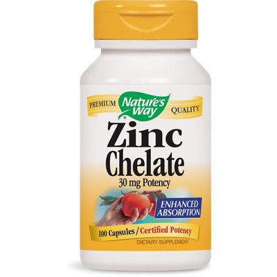 NATURES WAY Zinc Chelate For Cellular Reproduction 30 mg Potency 100 Capsules