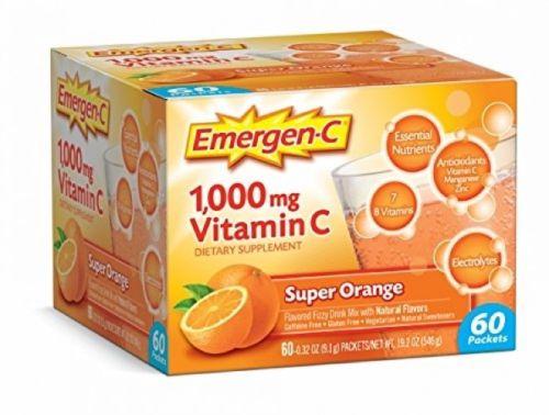 Emergen-C 60 Count Super Orange Dietary Supplement Drink Mix 1000mg Vitamin C