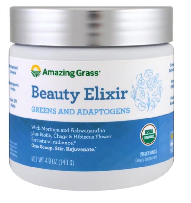 New Organic Natural Beauty Elixir Greens And Adaptogens 4.9 oz (140 g) Skin Care