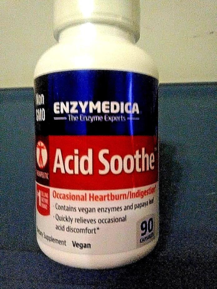 Enzymedica Acid Soothe Heartburn Indigestion Relief 90 Capsules Vegan Non GMO