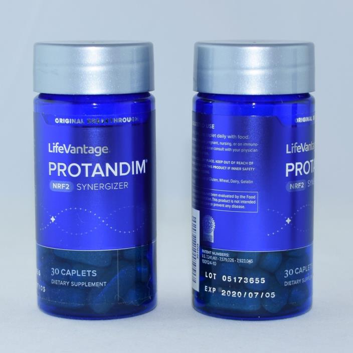 2 Bottles Genuine LifeVantage Protandim Nrf2 30 Caplets Exp 2020 Factory Sealed.