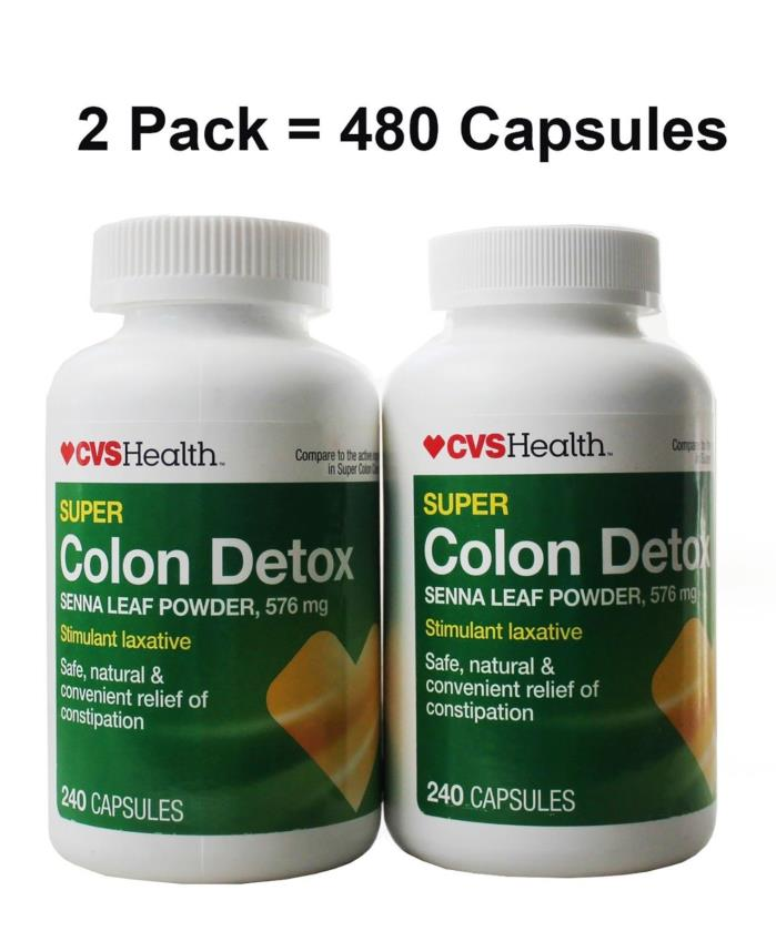 CVS Super Colon Cleanse Detox 576 mg Natural Senna Leaf 480 Capsules EXP 4/2019
