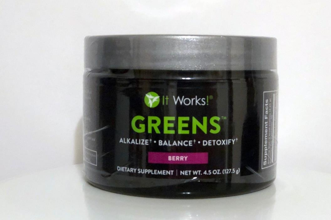 It Works! GREENS Supplement DRINK - Berry - New Sealed. Exp 05-18 1 Month Supply