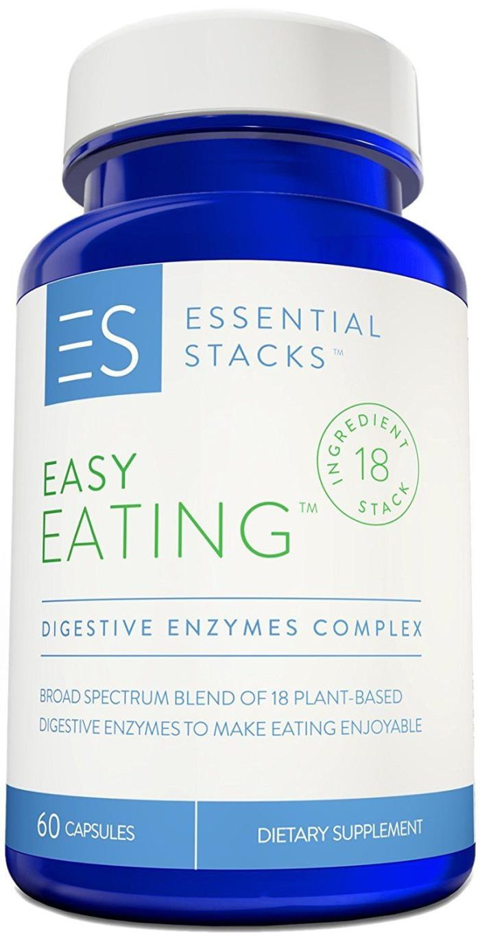 Essential Stacks- Easy Eating - 18 in 1 Digestive Enzymes- 60 count