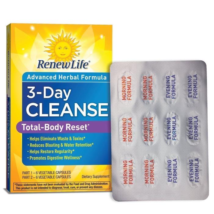 Renew Life 3- Day Cleanse Total Body Reset Detox and Cleanser  (read desc.)