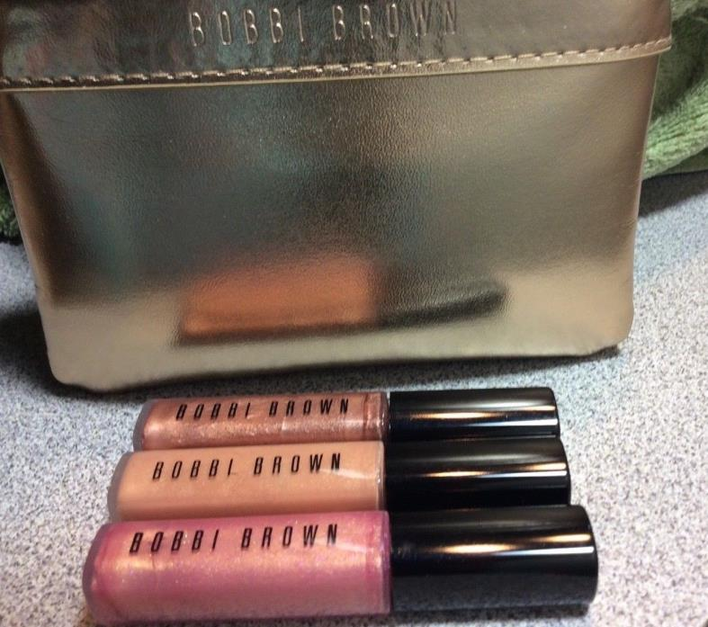 Bobbi Brown Lip Gloss Trio w/ Gold Pouch, BN, Limited Edition, Discontinued, HTF