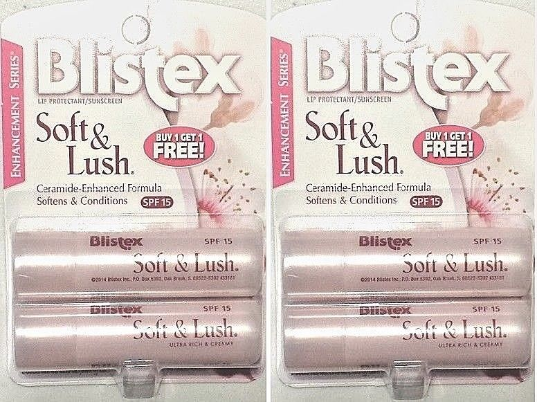 2 Packs of 2, Blistex Soft & Lush Lip Protectant/Sunscreen, SPF 15, 5/18
