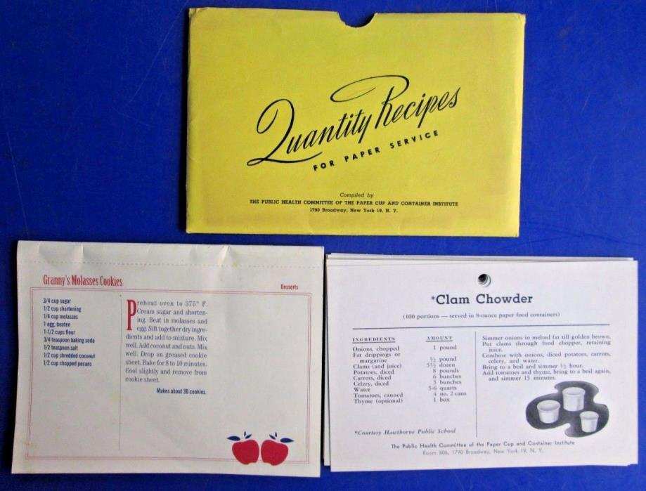 Vintage Lot Quantity Recipes For Paper Services & Favorite Family Recipe Cards