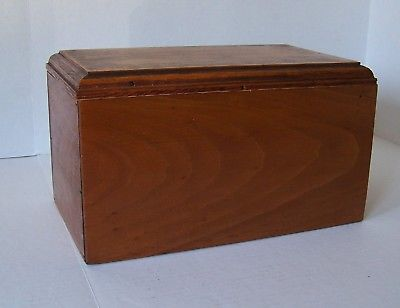 Large Wood Double Card Vintage File Storage Box with Tons of Old Recipes