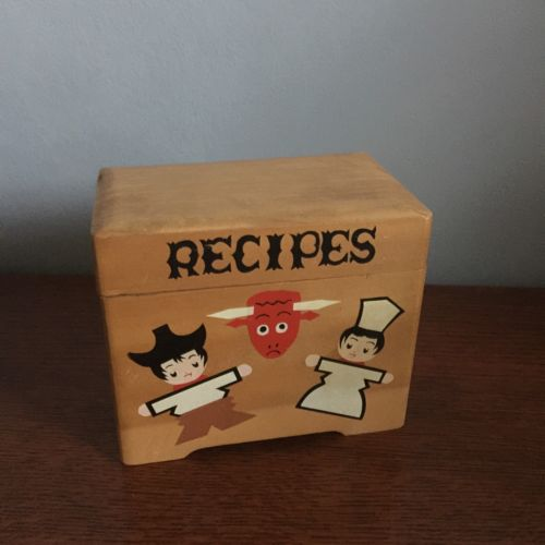 Vintage Recipe Box 40s/50s Mid Century Red Bull Chefs Cowboy