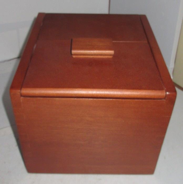 Vintage Wood Dovetail Grandma's Recipe Card Catalog Box Trinket Sliding Door