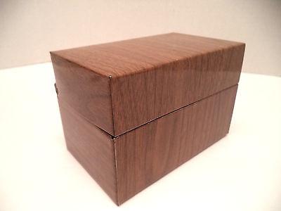 3x5 index card file recipe box woodgrain metal tin vintage 70s retro kitchen